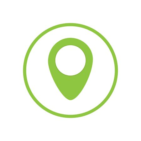 Green geo pin as icon with copy space on white. Geolocation and navigation. Icon for mobile and electronic devices, web design, infographic elements, presentation templates. Ilustração