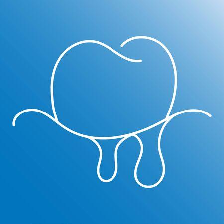 Gum bleeding linear icon. Thin line illustration. Gingivitis. Contour symbol. Vector isolated outline drawing. Ilustração