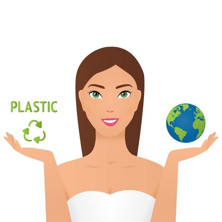 Girl holding planet and a plastic recycling sign say no plastic pollution recycling ecology problem save the earth concept female eco activist. No plastic.