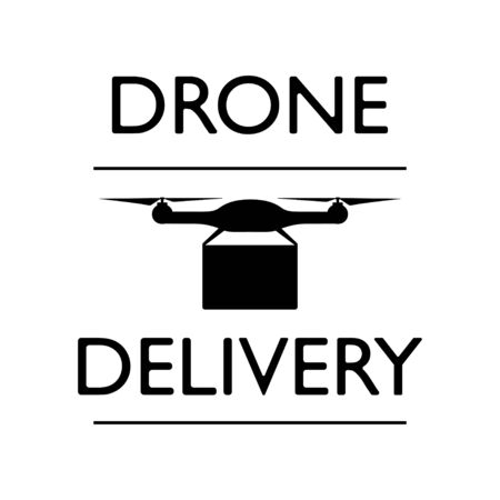 Drone Delivery Icon. Flat Design. Business Concept. Isolated Illustration. Drone with the package.