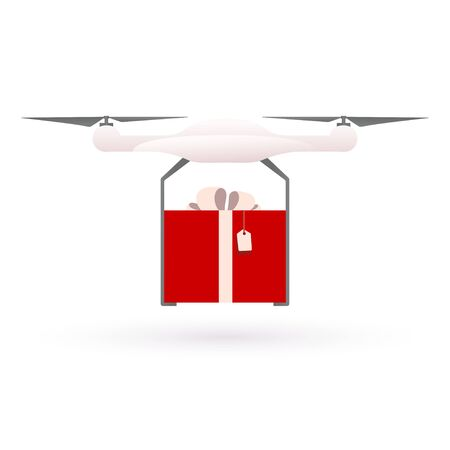 Drone flying on a white background and bears a gift, the red box. Drone Delivery Icon. Business Concept. Isolated Illustration. 向量圖像