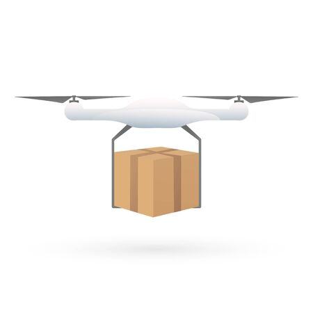 Package Delivery Drone. Concept illustration of a drone carrying a package. Illustration vector icon eps10