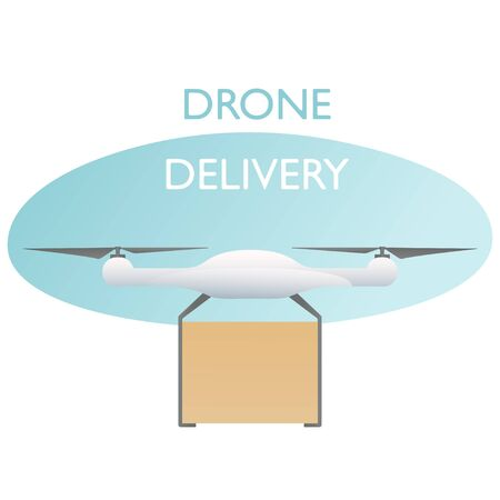 Delivery of goods to the buyer. Delivery drone with box. Future technology transport in trendy style. Place for text. Vector illustration