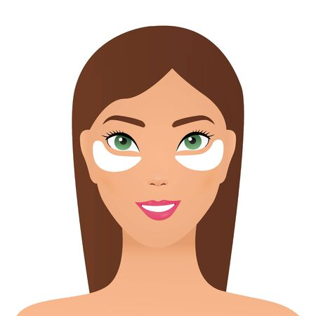 Attractive young woman applying white under eye patches, girl caring for her face, eye skin treatment procedure vector Illustration. Young girl with cosmetic patches under the eyes. Skincare, girl caring for her face.