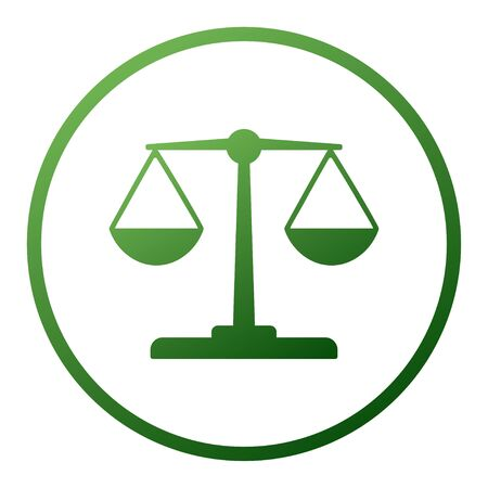 Justice balance scales icon, design isolated on gradient background isolated on white. Simply weight icon. Compare logo symbol. Scales judgment pictogram. Ui comparison element. User interface simile sign. vector.