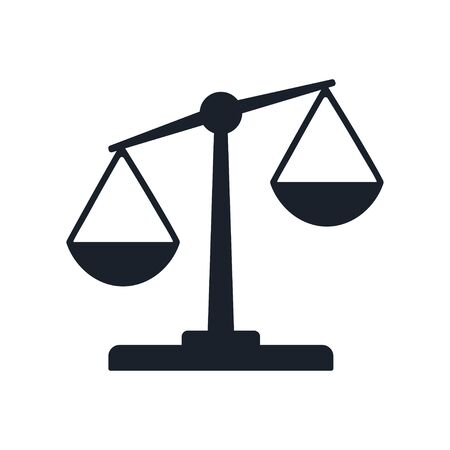 Justice balance scales icon, design isolated on gradient  isolated on white. Simply weight icon. Compare logo symbol. Scales judgment pictogram. Ui comparison element. User interface simile sign.  vector.