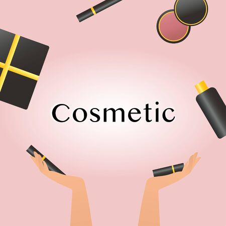 Cosmetics and fashion background with make up artist objects lipstick, cream, mascara. With place for your text .Template Vector illustration eps10