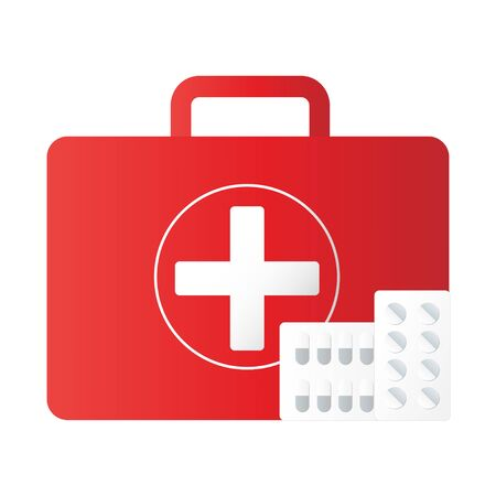 First aid kit equipment background. Medical instruments for emergency assistance. Illustration vector icon eps10