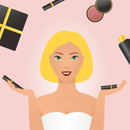 Beautiful  pointing to the side portrait in dress and makeup, red lipstick, hands Present product for sale. Cosmetics and fashion  with make up artist objects lipstick, cream, mascara. Young  with cosmetics illustrator doodles - beauty and cosmetic concept