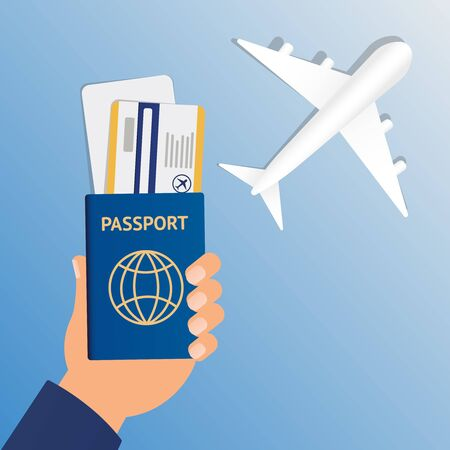 Passport Hand Travel Document Vacation Trip Booking Air Plane Flight Flat Vector Illustration eps10