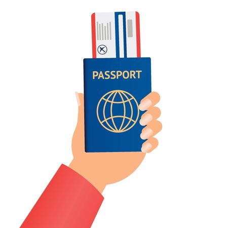 Business Hand Holding Passport And Tickets To Plane Over Concept Flat. hand user design, vector illustration eps10 graphic 版權商用圖片 - 135519529