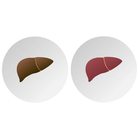Human sick liver icon. Medical concept. Vector illustration 向量圖像