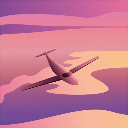 Airplane in the sky at sunset - Passenger Airliner aircraft. Illustration vector eps10
