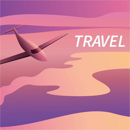 Travel on the plane of banners in a flat style against the background of sunrise or sunset. Passenger aircraft during flight and take-off. Header for the site. Eps10 illustration vector