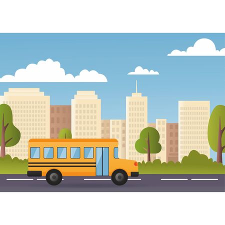 Yellow school bus. Cute cartoon school bus. Modern city on background. Back to school concept. Vector illustration eps10