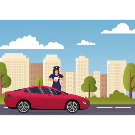 Policeman and police patrol on a road with stopped car and it driver. Concept Police. Road to Modern City View Skyscraper Cityscape Background with Copy Space Vector Illustration epa10