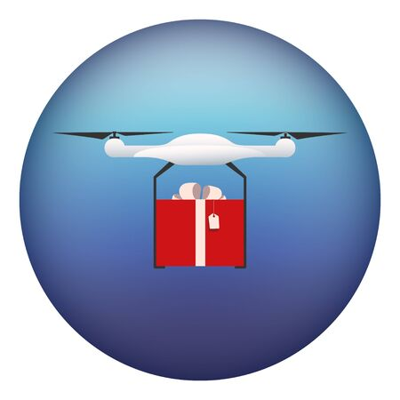 Drone flying on a white background and bears a gift, the red box. Illustration vector icon eps10 向量圖像