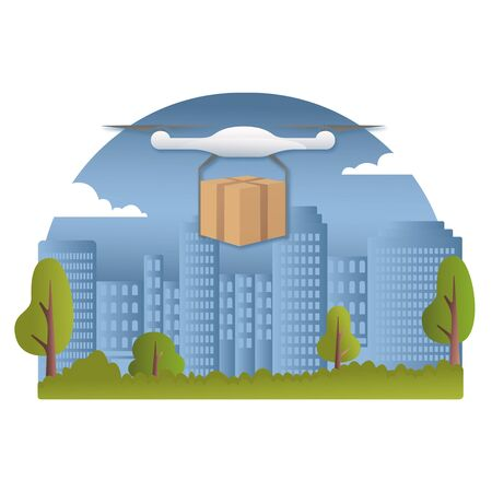 Delivery drone with the package against city background. Fast and convenient transportation concept. Remote air drone with a box flying in the sky. Modern delivery of the package by flying drone. Flat illustration of the express package delivery