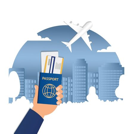 Flat vector web banners on the theme of travel by airplane, vacation, adventure. Flight in the stratosphere. Takeoff over the city among the skyscrapers. Landing on a tropical island. Transport. Passport Hand Travel Document Vacation Trip Booking Air Plane Flight Vector Illustration