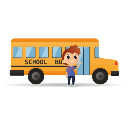 Vector illustration of little boy standing near the school bus. Back To School bus w kids. Icon eps10 向量圖像