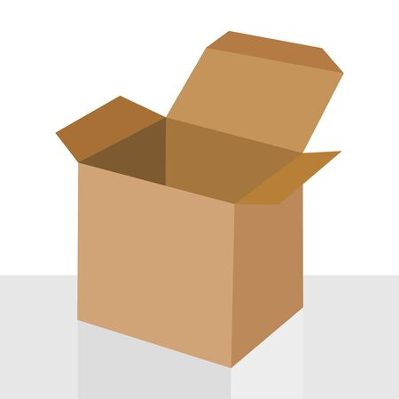 Open cardboard box isolated on white background, vector illustration icon illustration