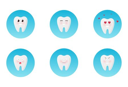 Flat design cartoon cute tooth character with different facial expressions, emotions. Set, collection of emoji isolated on white background. Happy teeth set. Dental collection for your design. Cartoons. Illustrations for children dentistry. Vector eps10 Vectores