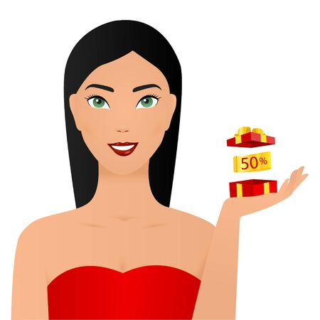 Cheerful good looking young woman holding a red gift box in her hands, but against a white background. The concept of holidays and gifts. copy space. Vectores