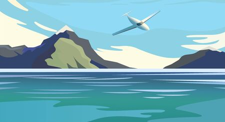 Flat vector web banners on the theme of travel by airplane, vacation, adventure. Flight in the stratosphere. Takeoff over the unbelievable mountain landscape. Exciting view. A great mountain is surrounded river. Vector tourist trip advertisement background. Illustration social media eps10