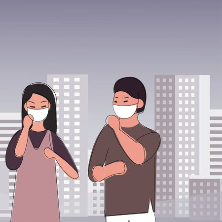 Sad people wearing protective face masks walking on street. Fine dust, air pollution, industrial smog, pollutant gas emission. Vectores