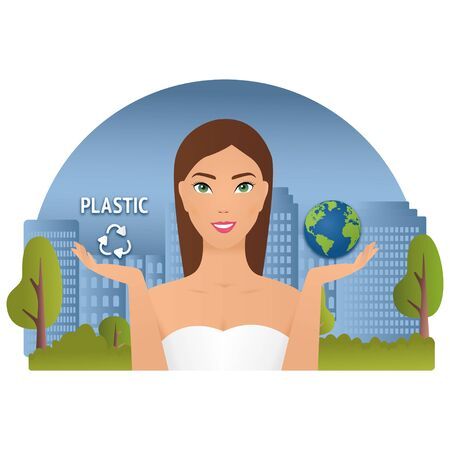 young Woman standing among polluted city and holding world in hand. save planet abstract vector. Vectores