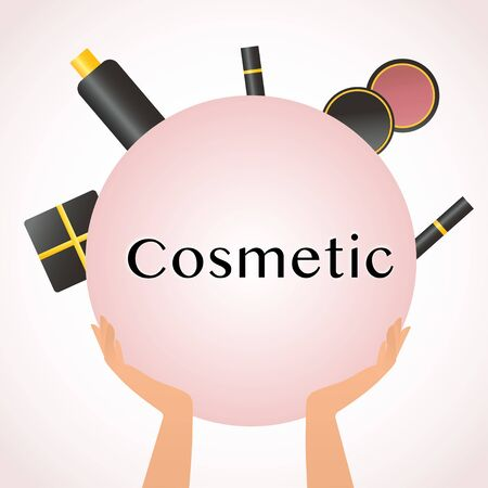 Cosmetics and fashion background with make up artist objects lipstick, cream, blush, mascara, gift. With place for your text. Female hands hold powder, eye shadow, ink for eyelashes and lipstick. Concept makeup, fashion and beauty image Vector illustration eps10 Vectores