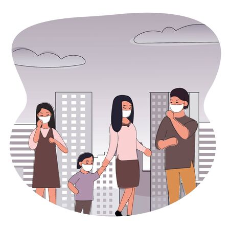 People wearing protective face masks Character Medical Health care concept, Fine dust, PM 2.5, air pollution, industrial smog, pollutant gas emission. Girls wearing mask due to infection of virus.People in medical masks protect against infection.Family disease prevention.Vector illustration.