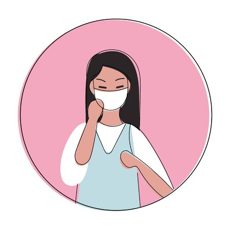 Illustration vector graphic of image man wearing  flags surgical mask to prevent Coronavirus and diseases. Girl wearing mask due to infection of virus. Peopel in medical mask protect against infection.Family disease prevention. Vectores