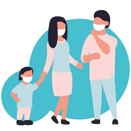 Family in a protective mask. Vector illustration for design isolated on a white background. Young man woman child protected. Health care. Mask for the face. Anti-influenza anti-dust antivirus.