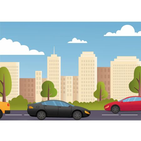 Cars Driving City Street Panorama Urban Road Flat Vector Illustration. City street exterior. American city with court, Sustainable traffic on the road. eps10 Vectores