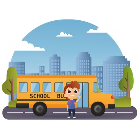 School bus and Happy Children. Happy young boy in front of school bus going back to school. cute cartoon school bus with cheerful pupil. Modern city on background. Illustration vector icon