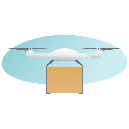 Remote air drone with a box flying in the sky. Modern delivery of the package by flying drone. Flat illustration of the express package delivery. White quadrocopter carrying carton box isolated on a white background. Vector