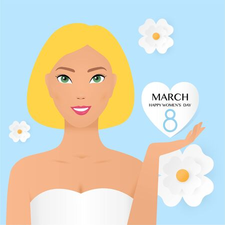 8 march international women s day vector illustration concept, woman head illustration from side view happy women s day, can use for, landing page, template, ui, web, mobile app, poster, banner, flyer. Happy Women s day hand lettering with portrait of a cute beautiful girl and flowers. Good for the holiday on March 8, vector illustration. Vectores