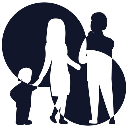 Vector illustration of a silhouette of a family. Happy family icon art in simple figures. Children, dad and mom stand together. Vector can be used as logotype.