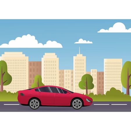 Flat vector cartoon style illustration of landscape street with electric car, green trees in background. Sustainable traffic on the road. Modern passenger cars for families, long trips and travel, transportation of luggage. A trip around the city on machine, shopping, entertainment and hobbies by car.