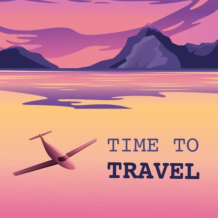Flight to a tropical island. Poster, vector illustration Unbelievable mountain landscape. Exciting view. A great mountain is surrounded river. Beautiful sunset over Mountains. Mountaineering and Traveling. Vacation and Outdoor Recreation Concept. banner card Vectores