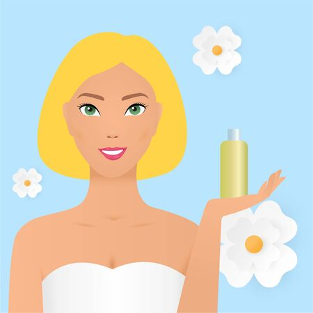 Beauty Spa Woman with perfect skin Portrait. Beautiful blonde Spa Girl showing cosmetics copy space on the open hand palm for text. Proposing a product. Gestures for advertisement. floral background. Women Herbal Cosmetics Product Flat Vector Advertising Banner, Poster Template. Hair and Shampoo, Body Balm Bottles Illustration. Natural Organic Skincare Products. Eps10 Vectores