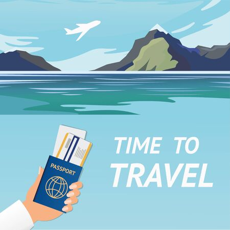 Unbelievable mountain landscape. Vector illustration. Exciting view. A great mountain is surrounded river. Passport for travel and tourism. Travel to Exotic Countries Motivation Abstract Banner. Tour Agency or Booking Tickets Service Advertisement. Vectores