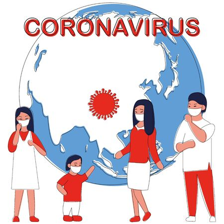 Coronavirus infographic with people using mask and world map vector illustration. Epidemiology. Web banner, mobile. Bacteria pandemic outbreak research. Sanitary condition prevention. Virus on the planet.