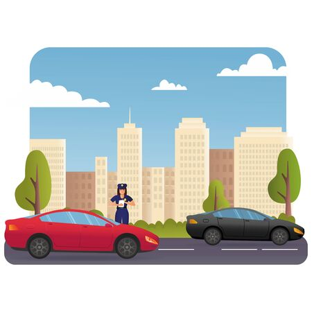 Police Officer Character in Uniform Write Fine on Road to Intruder. Law Protection, Car Traffic Inspector, Safety Control, High Speed Traffic Violation, Policeman Work Cartoon Flat Vector. Vectores