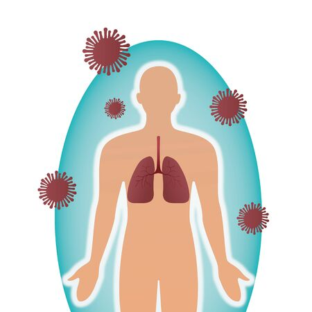 Epidemic MERS-CoV floating influenza human lungs with protective shield virus protection concept virus protection, medicine, wuhan coronavirus 2019-nCoV pandemic medical health risk vector illustration.