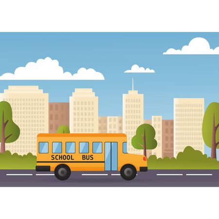 Yellow Bus Riding Back To School 1 September Flat Vector Illustration. Modern city on background.