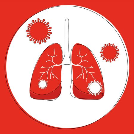 Infected lungs with bacterium illustration, coronavirus outbreak. Bacterial infection in body organs, pneumonia in the lungs, a respiratory disease.