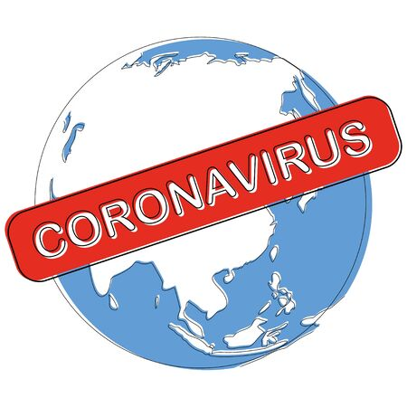 Corona global pandemic - planet earth encircled by virus Covid-19. Bacterial and viral infections attack vector. Vectores
