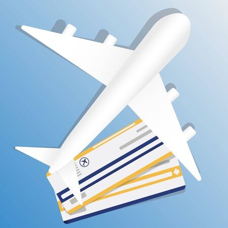 illustration of flight ticket with airplane. Air travel banner vacation concept design. Banner with airplane and vacation tickets. Vector